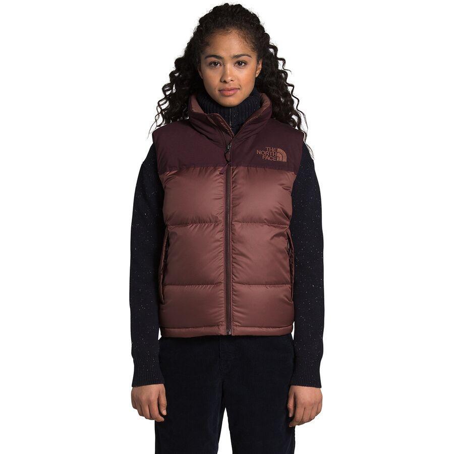 ハイキング 登山 マウンテン アウトドア ウェア アウター 山ガール ファッション ブランド 大きいサイズ ビッグサイズ 取寄 ノースフェイス ダウンベスト レディース ヌプシ Root Eco Women 価格 Vest Nuptse ベスト Purple North Marron Face The 正規品 Brown エコ