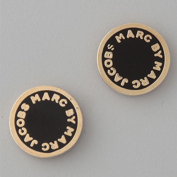 It Supports Mark By Jacobs Pierced Earrings Black Logo Disk Stud Bolt Marc Disc
