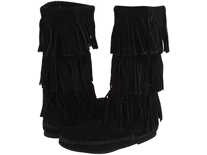 Minnetonka ミネトンカ ブーツ レディース 靴 シューズ ブランド ファッション かわいい 女性サイズ 大きいサイズ 正規品 (取寄)ミネトンカ レディース カーフ ハイ 3レイヤー フリンジ ブーツ Minnetonka Women's Calf Hi 3-Layer Fringe Boot Black Suede