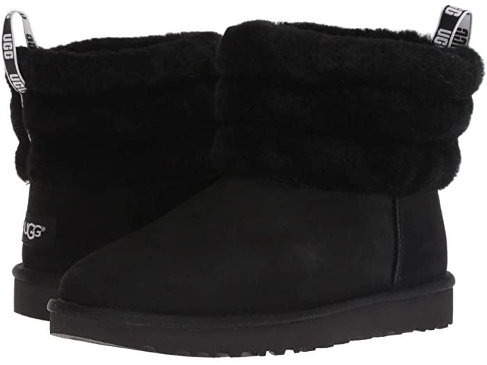 UGG アグ レディース 高い素材 ブーツ ルーズ 靴 シューズ ブランド カジュアル ファッション 大きいサイズ 正規品 Mini フラフ ミニ ビックサイズ 誕生日/お祝い キルテッド Black Women's Quilted 取寄 Fluff