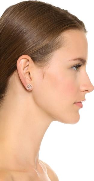 Get Cdn Tory Burch Earrings Silver Logo Circle Studded Stud