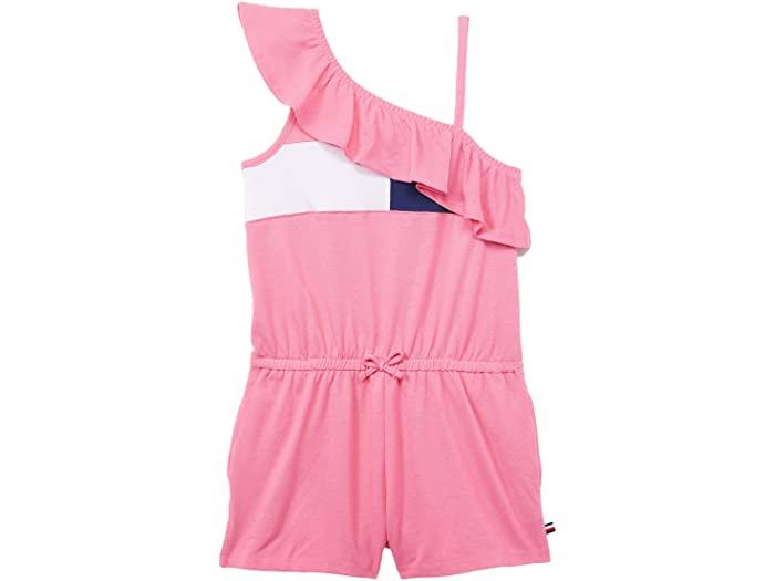 Tommy Hilfiger トミー ヒルフィガー サロペット 直営店 オーバーオール 返品送料無料 キッズ ブランド ファッション かわいい 大きいサイズ 取寄 ガールズ ワン ショルダー Carnation Flag Shoulder Pink ロンパー Kids ビッグ One Girl's Big フロッグ Romper