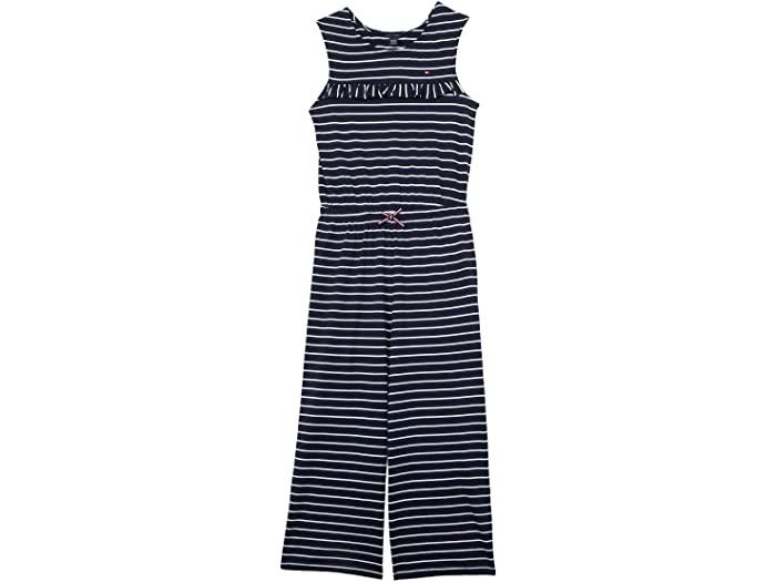 Tommy Hilfiger トミー ヒルフィガー サロペット オーバーオール キッズ 評価 ブランド ファッション かわいい 大きいサイズ 取寄 ガールズ Ruffle ストライプド ビッグ Girl's Jumpsuit ランキングTOP5 ジャンプスーツ Big ラッフル Striped Kids Navy Blazer