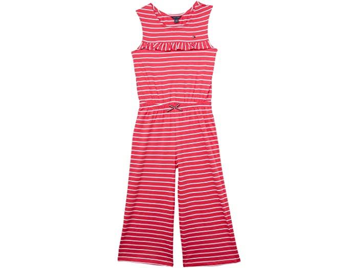 Tommy Hilfiger トミー ヒルフィガー サロペット オーバーオール キッズ ブランド ファッション かわいい 大きいサイズ 取寄 Jumpsuit ビッグ ガールズ ストライプド ジャンプスーツ Raspberry ラッフル Girl's Big 卸売り 在庫一掃 Kids Striped Ruffle