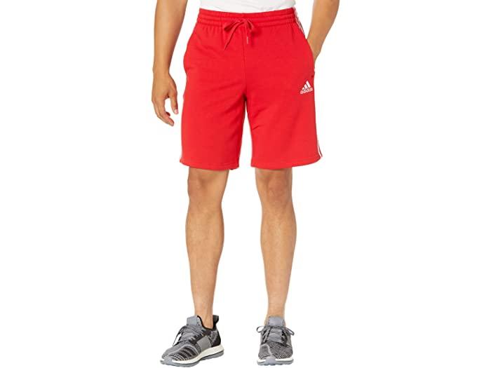 adidas アディダス メンズ ランキングTOP5 パンツ スポーツ フィットネス トレーニング 市販 ブランド ジム ウェア 男性 大きいサイズ ビックサイズ 3-Stripes ストリート ショーツ エッセンシャル White 取寄 Shorts Fleece フリース Essentials 3ストライプ Men's Scarlet
