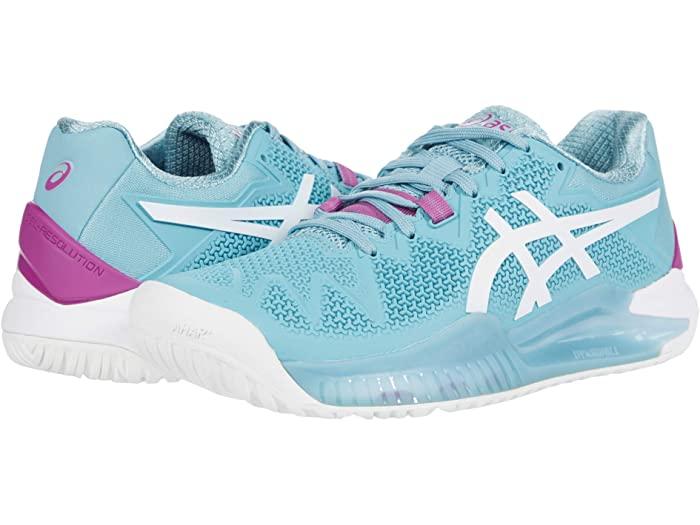 ASICS アシックス レディース シューズ 靴 テニス スポーツ 豊富な品 ブランド 女性 Gel-Resolution Blue おトク 取寄 White Women's 8 Smoke 大きいサイズ ビックサイズ