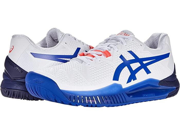 ASICS アシックス レディース シューズ 靴 テニス スポーツ ブランド 大人気 女性 大きいサイズ 取寄 Gel-Resolution Lazuli White Blue 8 いつでも送料無料 ビックサイズ Women's Lapis