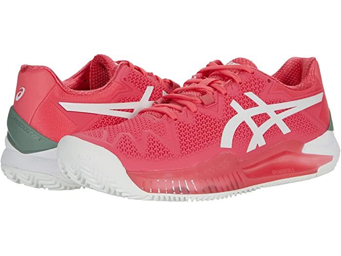 ASICS アシックス レディース シューズ 靴 テニス スポーツ ブランド 女性 絶品 大きいサイズ 大放出セール Pink Women's 取寄 Cameo 8 White ビックサイズ Gel-Resolution Clay クレー