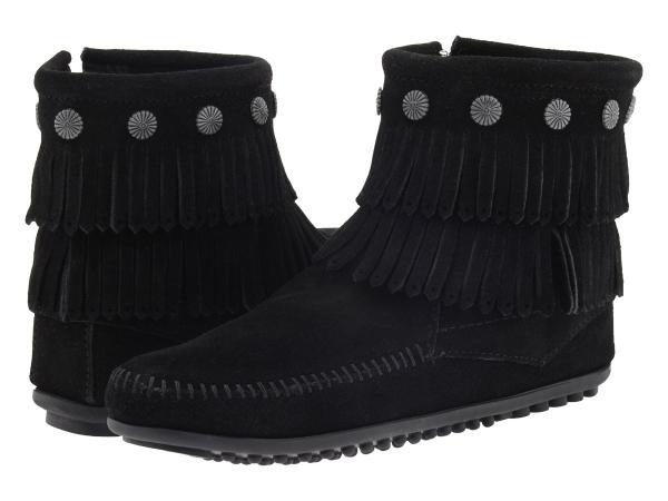 (取寄)ミネトンカ レディース ダブル フリンジ サイド ジップ ブーツ Minnetonka Women Double Fringe Side Zip Boot Black Suede