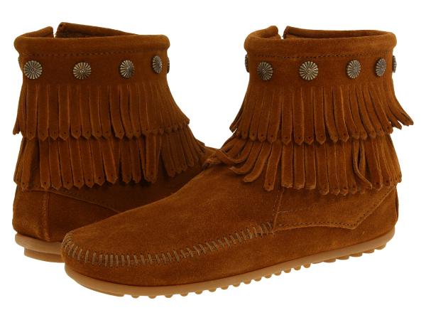 (取寄)ミネトンカ レディース ダブル フリンジ サイド ジップ ブーツ Minnetonka Women Double Fringe Side Zip Boot Brown Suede