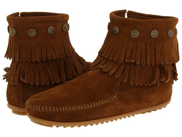 (取寄)ミネトンカ レディース ダブル フリンジ サイド ジップ ブーツ Minnetonka Women Double Fringe Side Zip Boot Dusty Brown Suede
