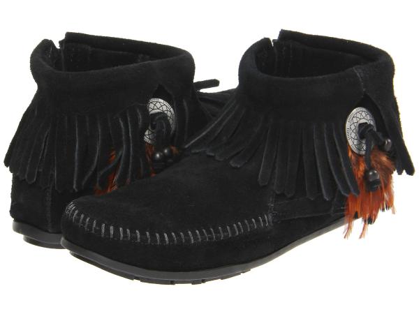 (取寄)ミネトンカ レディース コンチョ フェザー サイド ジップ ブーツ Minnetonka Women Concho/Feather Side Zip Boot Black Suede