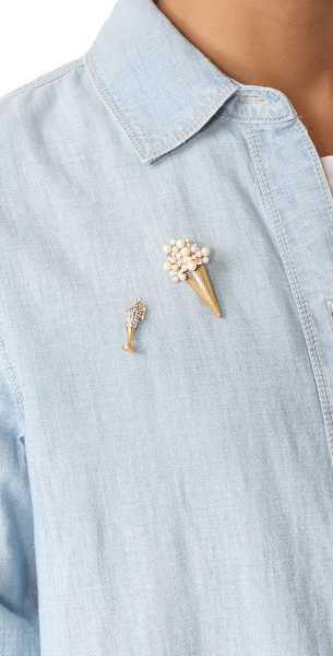 (索取)Marc Jacobs Ice Cream Brooch标记雅各布冰激凌胸针Antique Gold