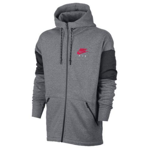(取寄)Nike ナイキ メンズ パーカー エア フル ジップ フーディ Nike Men's Air Full Zip Hoodie Carbon Heather Anthracite Siren Red