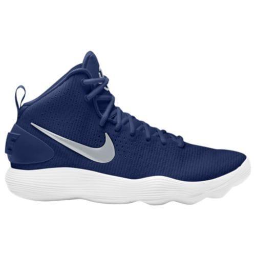 (取寄)Nike ナイキ レディース スニーカー バッシュ リアクト ハイパーダンク 2017 ミッド バスケットボール Nike Women's React Hyperdunk 2017 Mid Midnight Navy Metallic Silver White