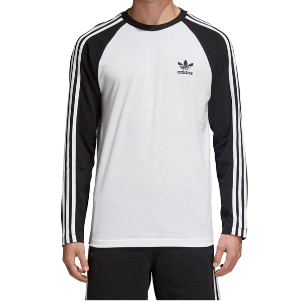 Adidas Originals 3 Stripes Mens T-shirt Long Sleeve Black All Sizes