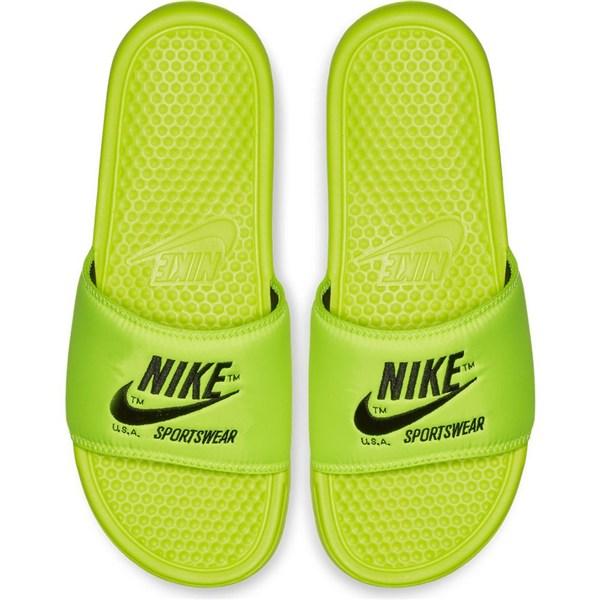 (取寄)ナイキ サンダル ベナッシ 蛍光イエロー JDI テキスト シャワーサンダル Nike Benassi JDI Text SE Volt Black