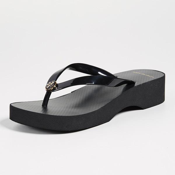 (取寄)Tory Burch Women's Wedge Thin Flip Flop トリーバーチ レディース ウェッジ シン フリップ フロップ Black/Black