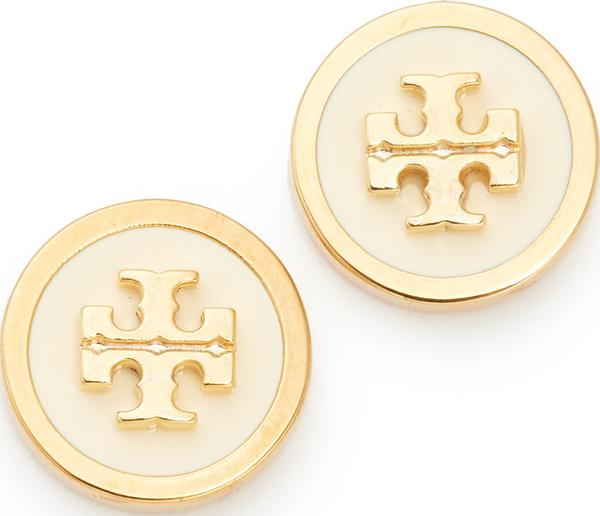 (取寄)Tory Burch Raised Logo Stud Earrings トリーバーチ レイズ ロゴ スタッズ ピアス New Ivory/Tory Gold