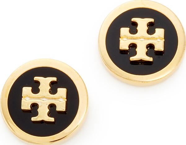 (取寄)Tory Burch Raised Logo Stud Earrings トリーバーチ レイズ ロゴ スタッズ ピアス Black/Tory Gold