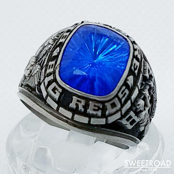 【College ring/カレッジリング】23号/合金製/スクエア型/1983年製/野球・ベースボール/BELLAIRE BIG REDS/JOSTENS/ジャスティン社製/vr-1002