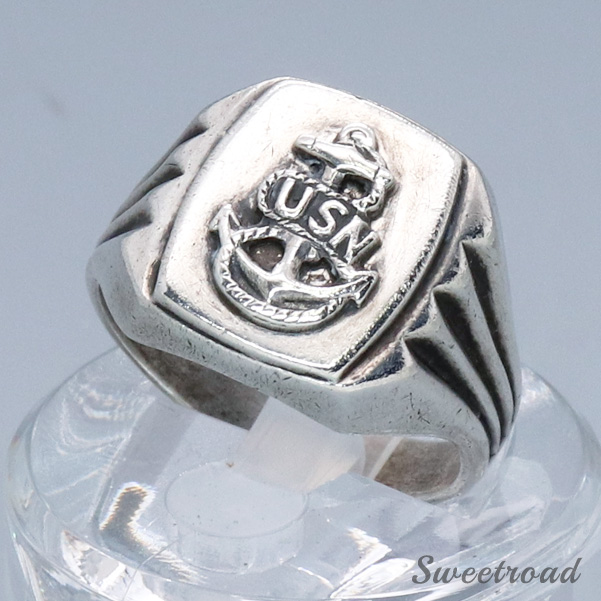 【Military Ring】U.S.Navy(USN)/アメリカ海軍/925 STARLING SILVER/18 size/w-20356