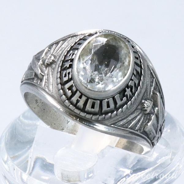 【College Ring/カレッジリング】クリアストーン/ドーム型/合金製/21号/South Polk School/1982年製/w-21679
