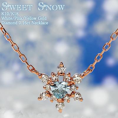 ブルーダイヤモンド ハート 雪の結晶 ネックレス