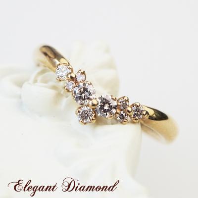 ふんわり、指先に降り積もるダイヤモンド… K10 or K18/WG・PG・YG ダイヤモンド 0.20ct リング 送料無料 プレゼント ギフト
