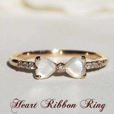 見ているだけで楽しくなっちゃう♪小さく結んだ上品リボン白蝶貝・ダイヤモンド ハートリボンリング K10orK18/PG・YG 送料無料 プレゼント ギフト