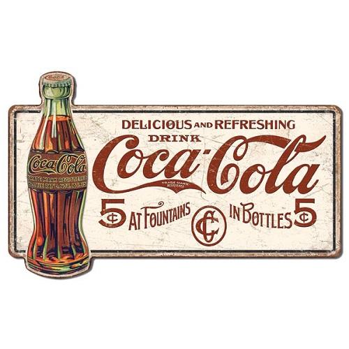 ラージ プレミアム エンボス ティン サイン COKE- Delicious 5 Cents MS LGCC01