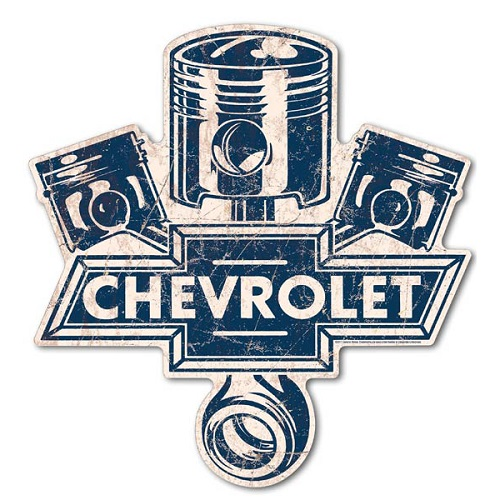 ラージ プレミアム エンボス ティン サイン Chevy Pistons Die Cut MS LGGM01