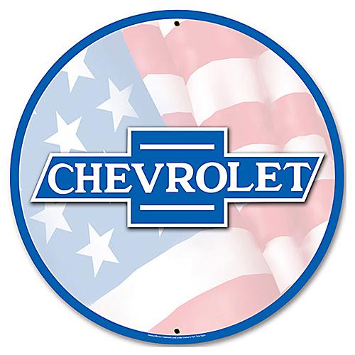 スティール サイン (スチール サイン) Chevy Flag Emblem GMC-027
