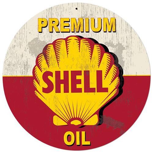 スティール サイン (スチール サイン)Red Premium Shell Oil Grunge SHL-232