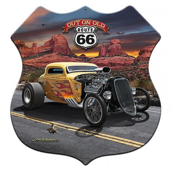 スティール サイン (スチール サイン) 3-D Out On Old Route 66 LG-629
