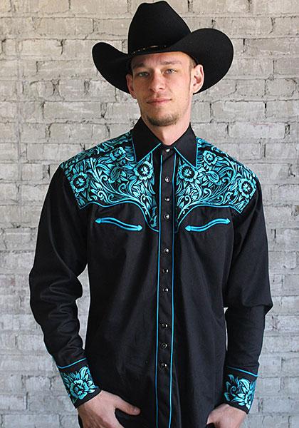 ロックマウント (ROCKMOUNT) メンズ ウエスタン シャツ RM6859-BLK/TUR BLACK & TURQUOISE