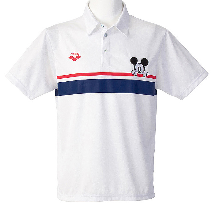 Only as for the medium size! DIS-2371 arena arena disney Disney Mickey short sleeves polo shirt swimming swimming WHT
