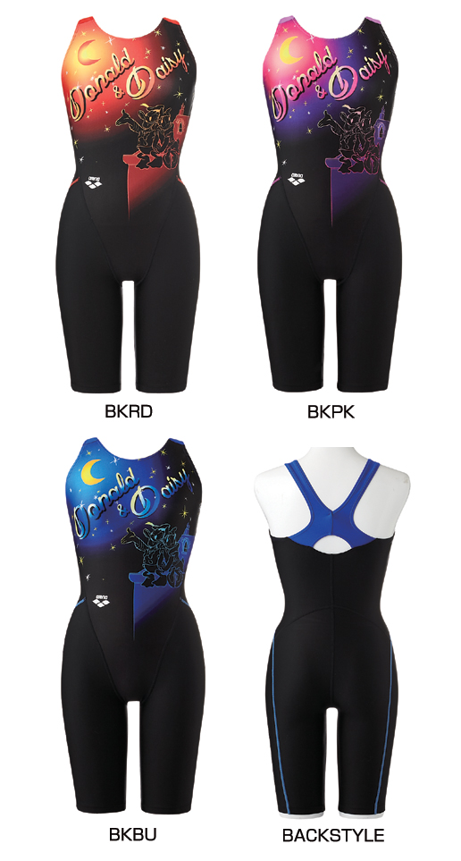 Only as for O size! A fitness swimsuit all-in-one swimsuit half suit half spats deep-discount status cheap sale for the DIS-3355W arena arena disney Disney Donald Daisy Lady's woman!