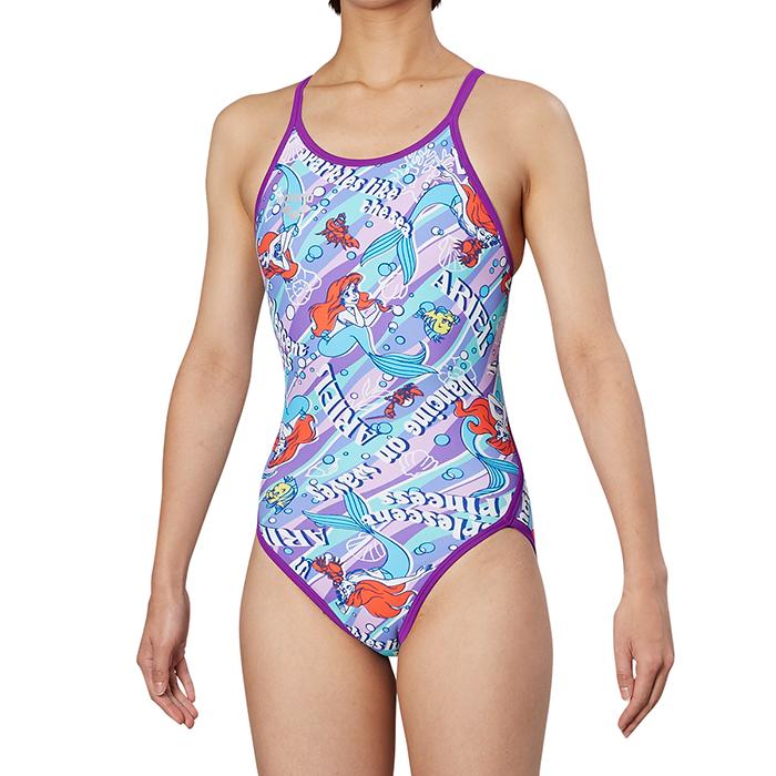 【あす楽対応】DIS-9355W arena アリーナ disney ディズニー アリエル ToughSuit タフスーツ レディース 女性用 スーパーフライバック タフスキン 練習用水着 練習水着 競泳水着 競泳用水着