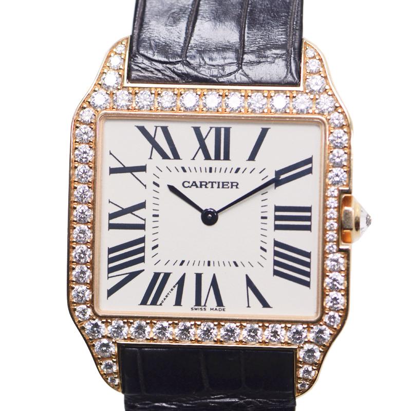 驚きの価格 Cartier シルバー カルティエ WH100751 サントス 18Kローズゴールド/ダイヤ入り シルバー 手巻き カルティエ WH100751, スアドーナ:ca7a1a50 --- borikvino.sk