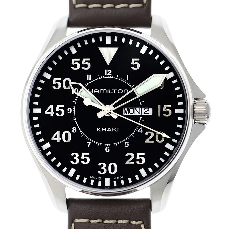 ベルト調整無料 全国一律送料無料 新品 HAMILTON ハミルトン カーキ 再再販 休み メンズ腕時計 アビエーション パイロット H64611535
