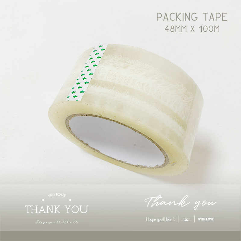"""DESIGN PACKING TAPE OPPテープ 梱包テープ """" Thank you """" 透明 48mmx100m"""