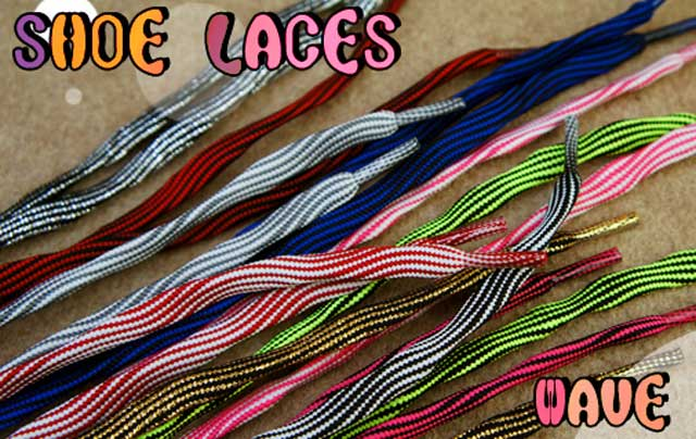 lace up in best sell lowest price ≪>> pop Shoo race wave 120cm approximately 8mm Oval race POP SHOE LACES  WAVE string pattern stripe black white red pink blue gold silver gray free  ...