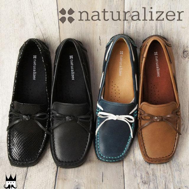 ナチュラライザー naturalizer レディース N137 モカシン デッキシューズ BL(ブラック) BLHH(ブラックヘビ柄) DN(ダークブラウン) NAVY(ネイビー) 4色 甲リボン ヘビ柄 ぺたんこ靴 フラットシューズ カジュアルシューズ evid