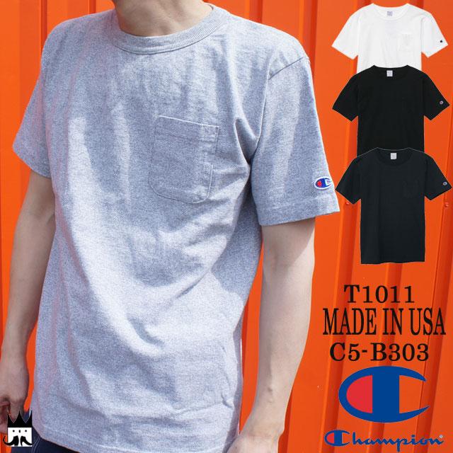 【あす楽】【送料無料】(一部地域除く) チャンピオン Champion メンズ Tシャツ アパレル C5-B303 T1011 ティーテンイレブン コットン100% ポケット付き US Tシャツ 17SS カジュアル 無地 半袖 丸首 MADE IN USA evid /-