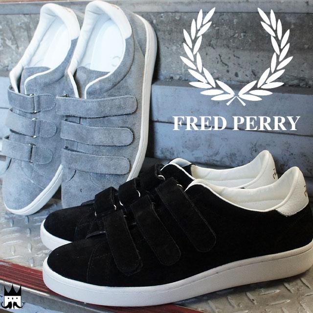 【送料無料】(一部地域除く)【あす楽】 フレッドペリー FRED PERRY メンズ スニーカー F29618 ブロー ベルクロ スエード メイドインジャパン ブラック グレー evid