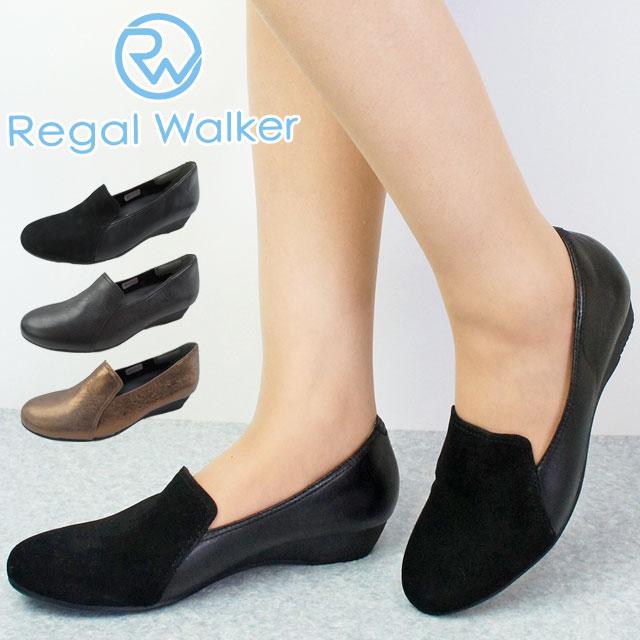 リーガルウォーカー REGAL WALKER ウェッジソール パンプス レディース HB61 ワイズ3E 4E ウェッジヒール 黒 ブラック ネイビー スエード evid