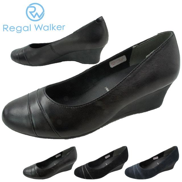 リーガルウォーカー REGAL WALKER ウェッジソール パンプス レディース HB62 ワイズ3E 4E ウェッジヒール 黒 ブラック ネイビー スエード evid o-sg