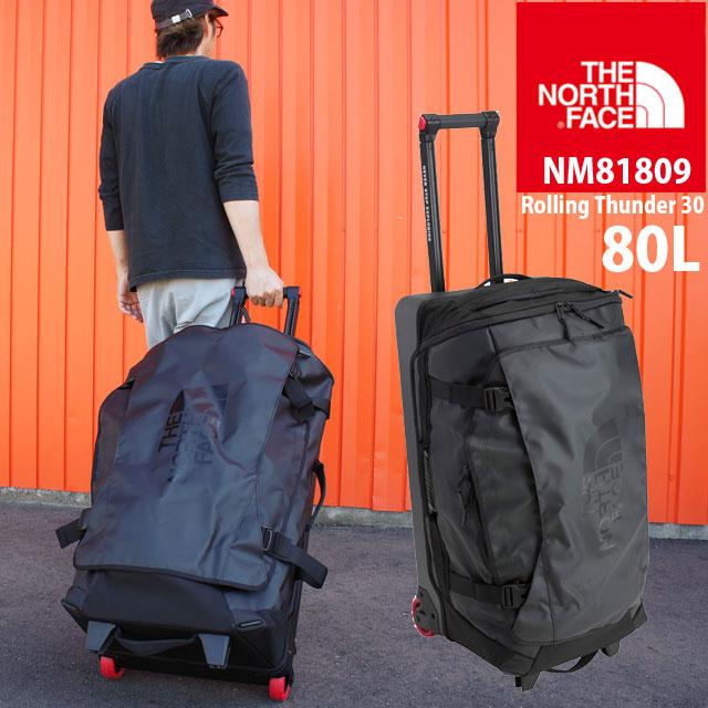 【送料無料】ザ・ノースフェイス THE NORTH FACE メンズ レディース バッグ 80L NM81809 ローリングサンダー30インチ キャリーバッグ キャリーバック ブラック トラベル 大型 遠征 旅行 出張 evid  5