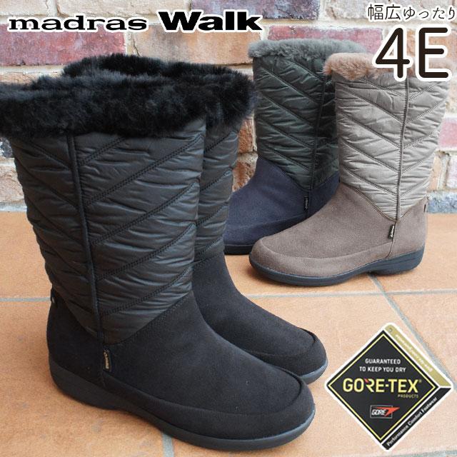 マドラスウォーク madras Walk スノーブーツ 大雪 ゴアテックス レディース MWL2111 防水 4E ロングブーツ 大きいサイズ 黒 ブラック ネイビー オーク evid